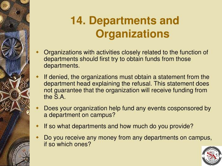 14. Departments and