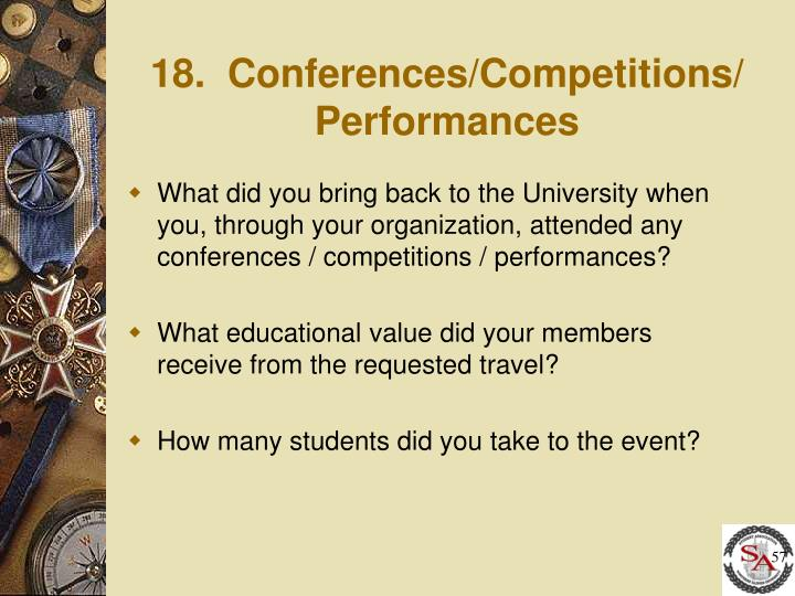 18.  Conferences/Competitions/