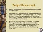 budget rules contd