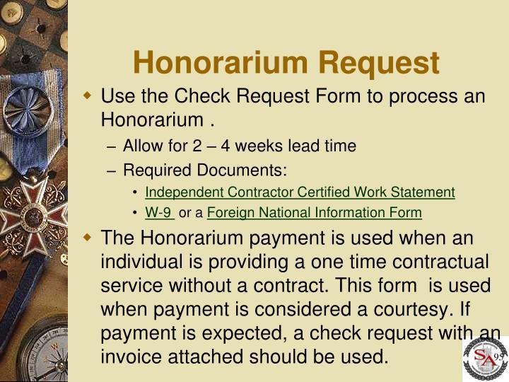 Honorarium Request