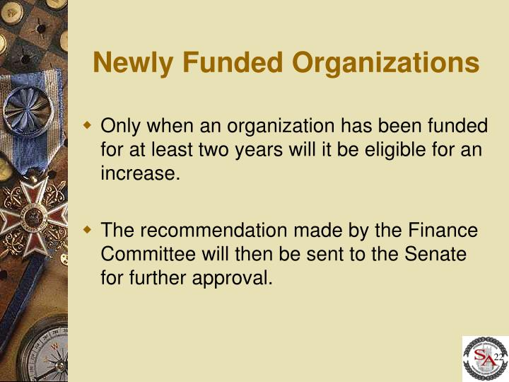 Newly Funded Organizations