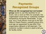 payments recognized groups