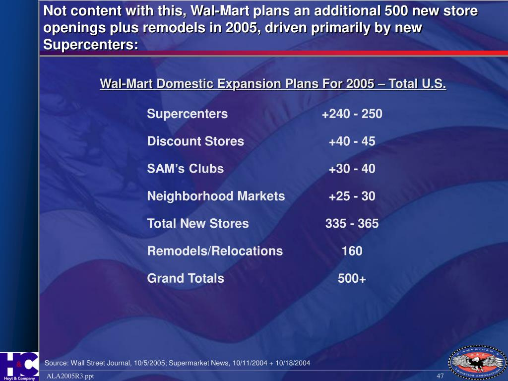 Not content with this, Wal-Mart plans an additional 500 new store openings plus remodels in 2005, driven primarily by new Supercenters: