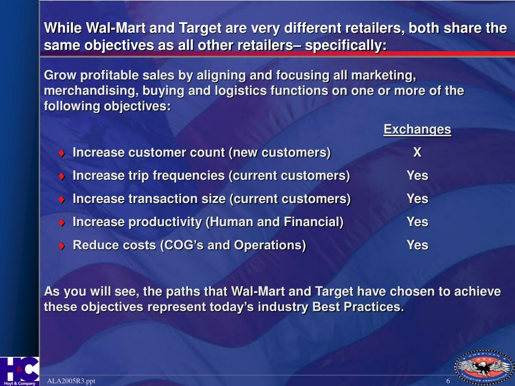 While Wal-Mart and Target are very different retailers, both share the same objectives as all other retailers– specifically: