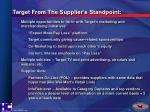 target from the supplier s standpoint