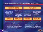 target positioning expect more pay less