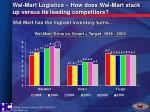 wal mart logistics how does wal mart stack up versus its leading competitors
