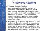 v services retailing