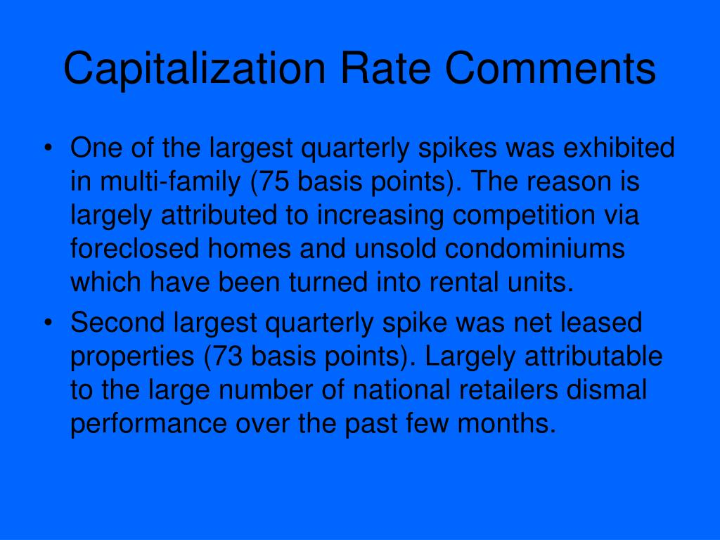Capitalization Rate Comments