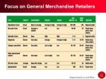 focus on general merchandise retailers