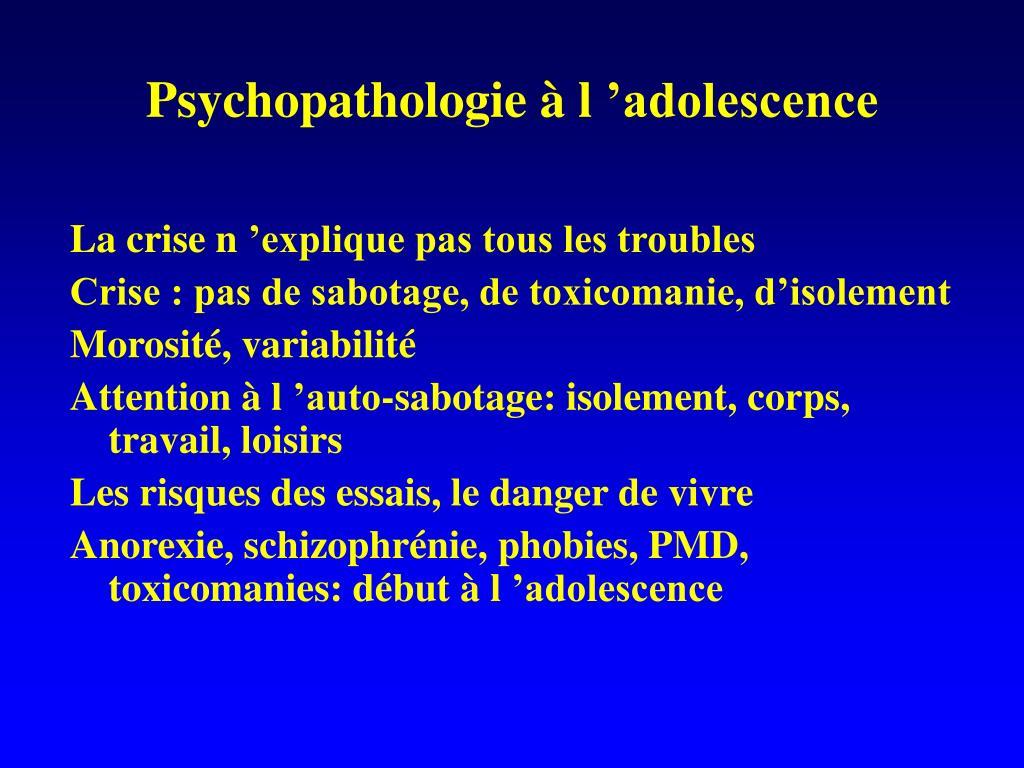 Psychopathologie à l'adolescence