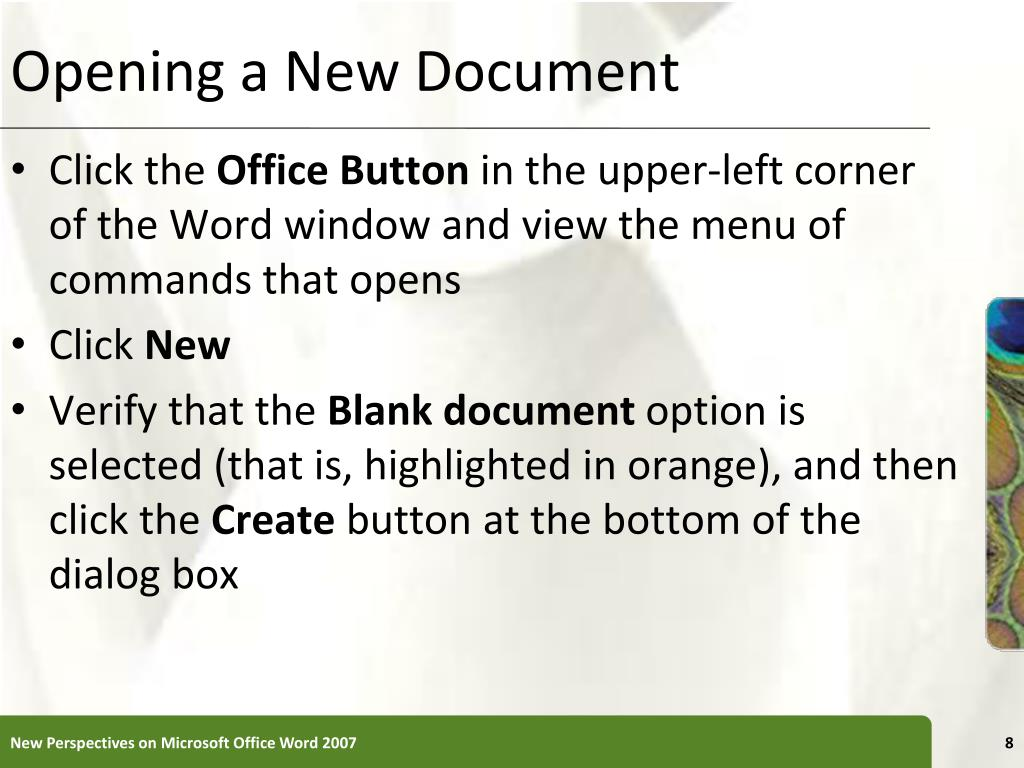 Opening a New Document