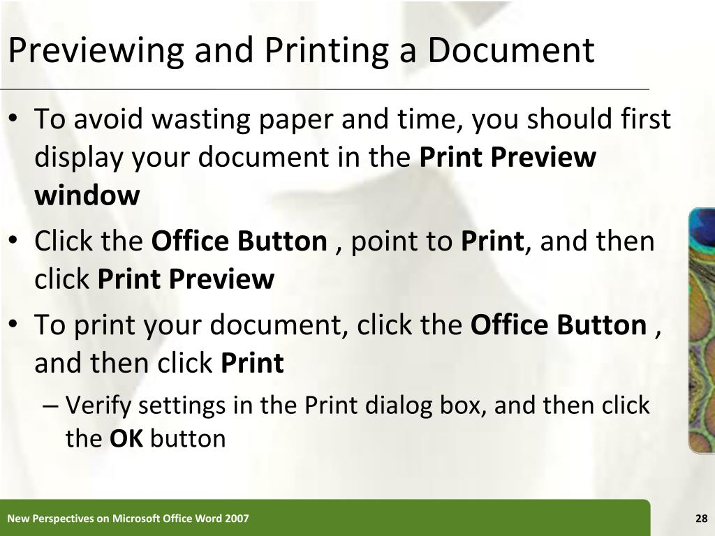 Previewing and Printing a Document