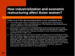 how industrialization and economic restructuring affect asian women14