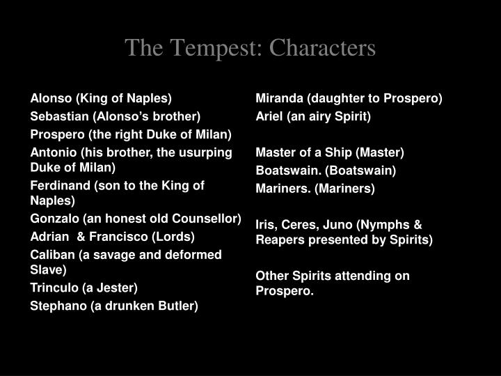 the tempest summary characters