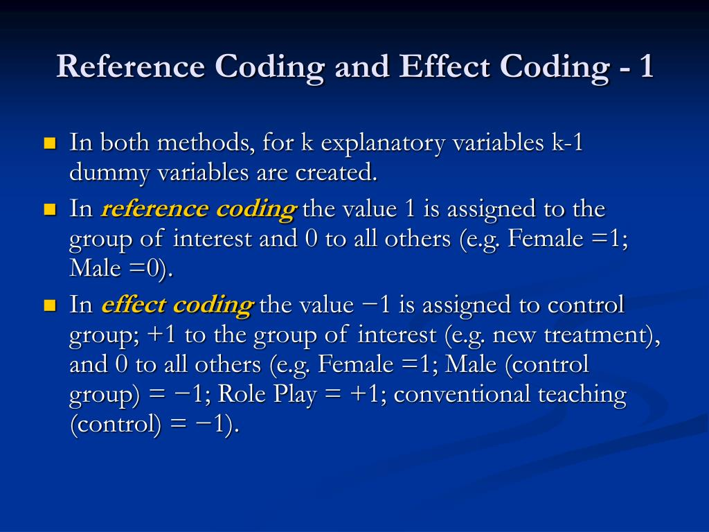 Reference Coding and Effect Coding - 1