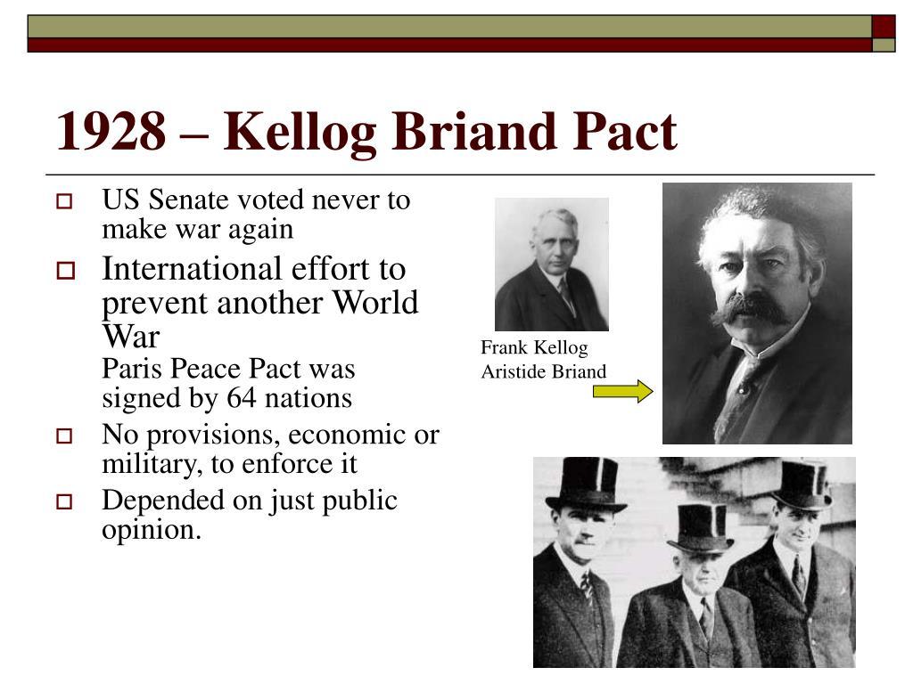 1928 – Kellog Briand Pact