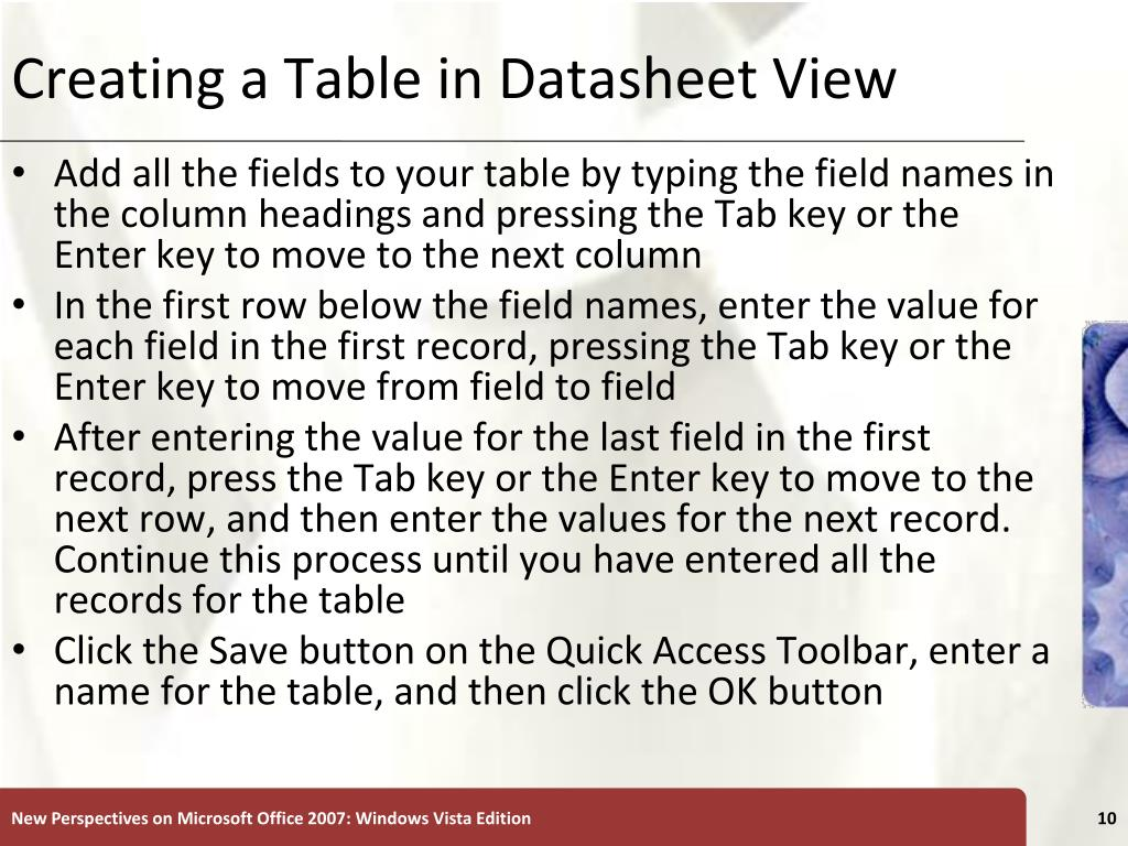 Creating a Table in Datasheet View