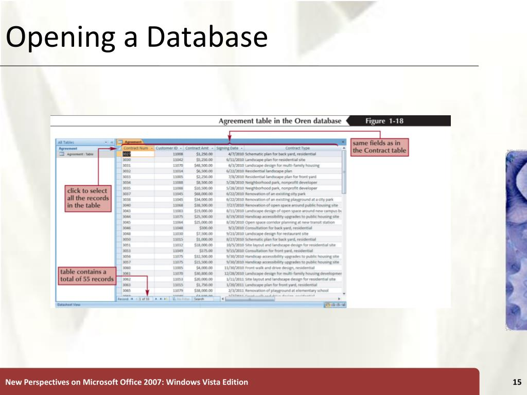 Opening a Database