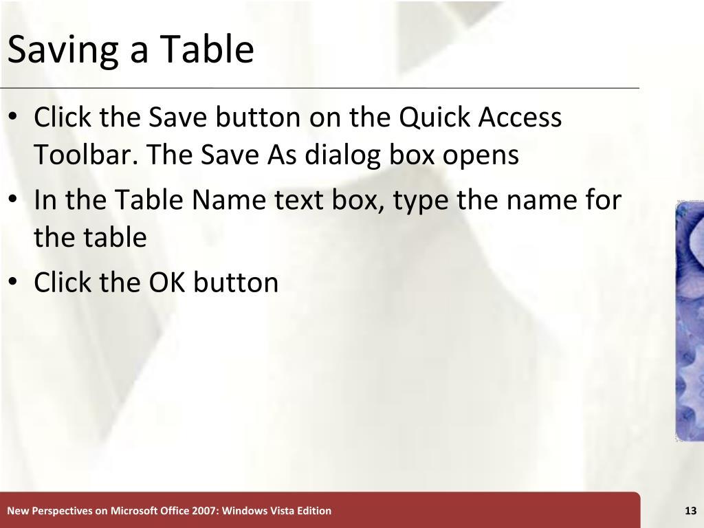 Saving a Table