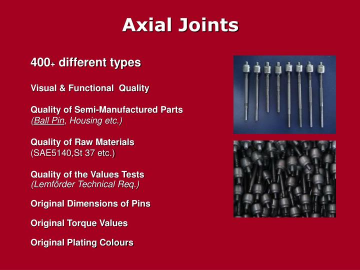 Axial Joints