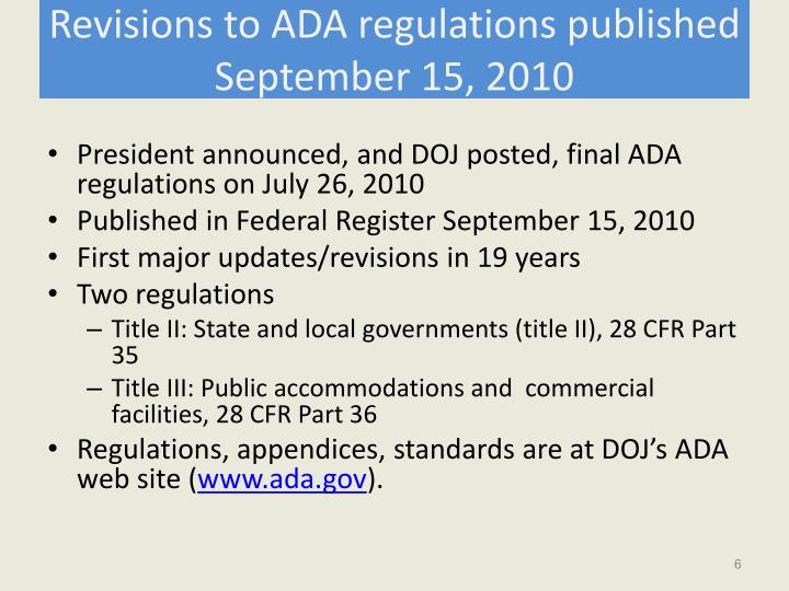 Revisions to ADA regulations published