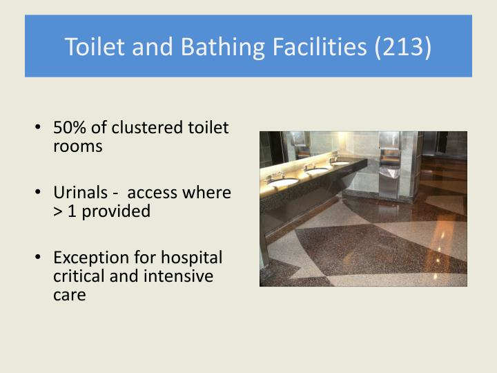 Toilet and Bathing Facilities (213)