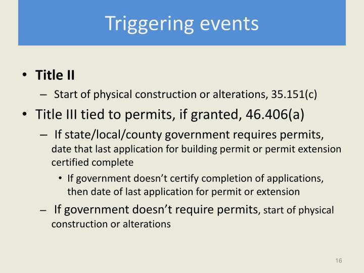 Triggering events