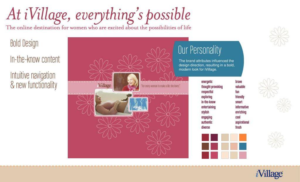 The brand attributes influenced the design direction, resulting in a bold, modern look for iVillage.