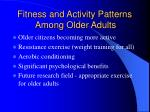 fitness and activity patterns among older adults