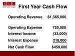 first year cash flow