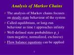analysis of markov chains