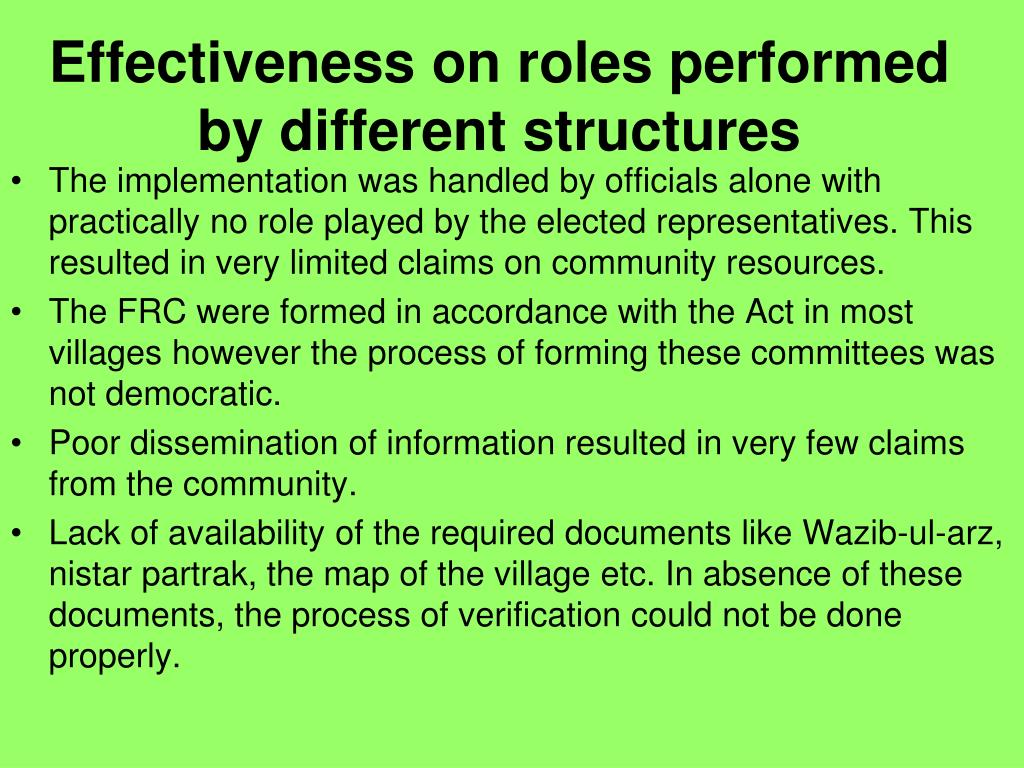 Effectiveness on roles performed by different structures