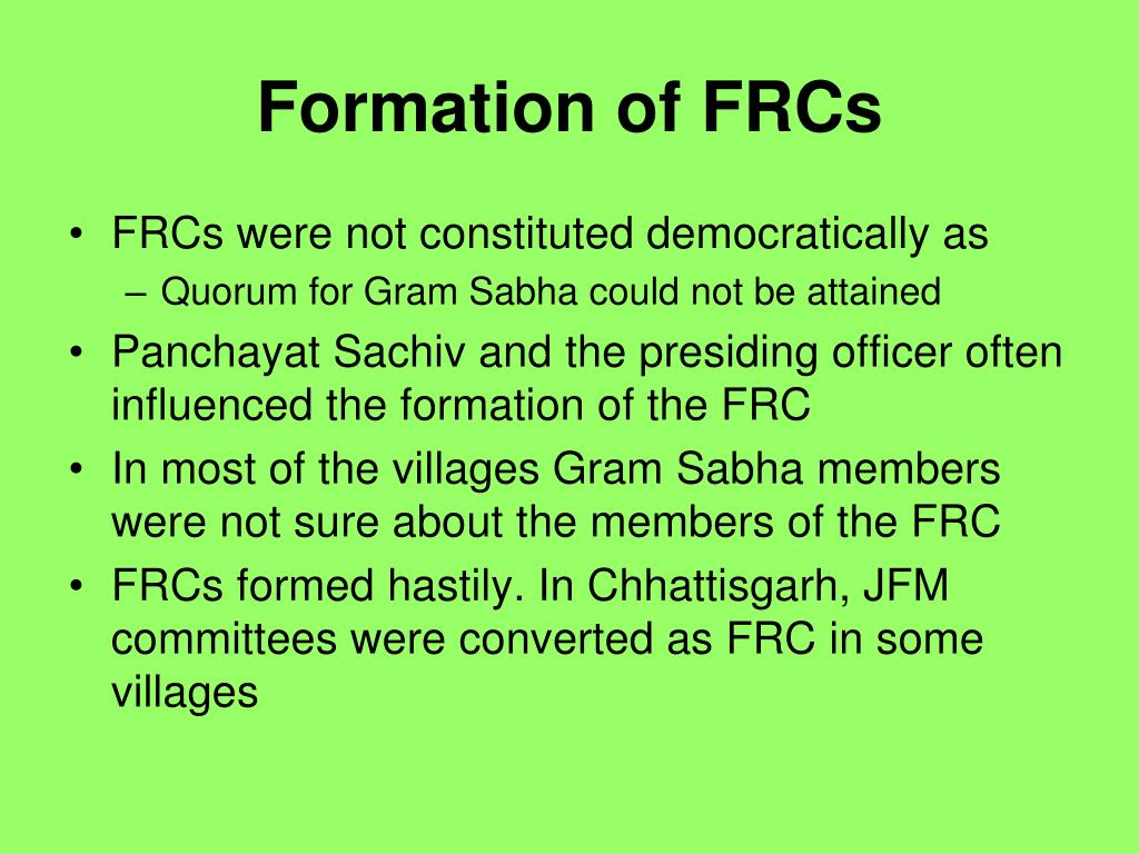 Formation of FRCs