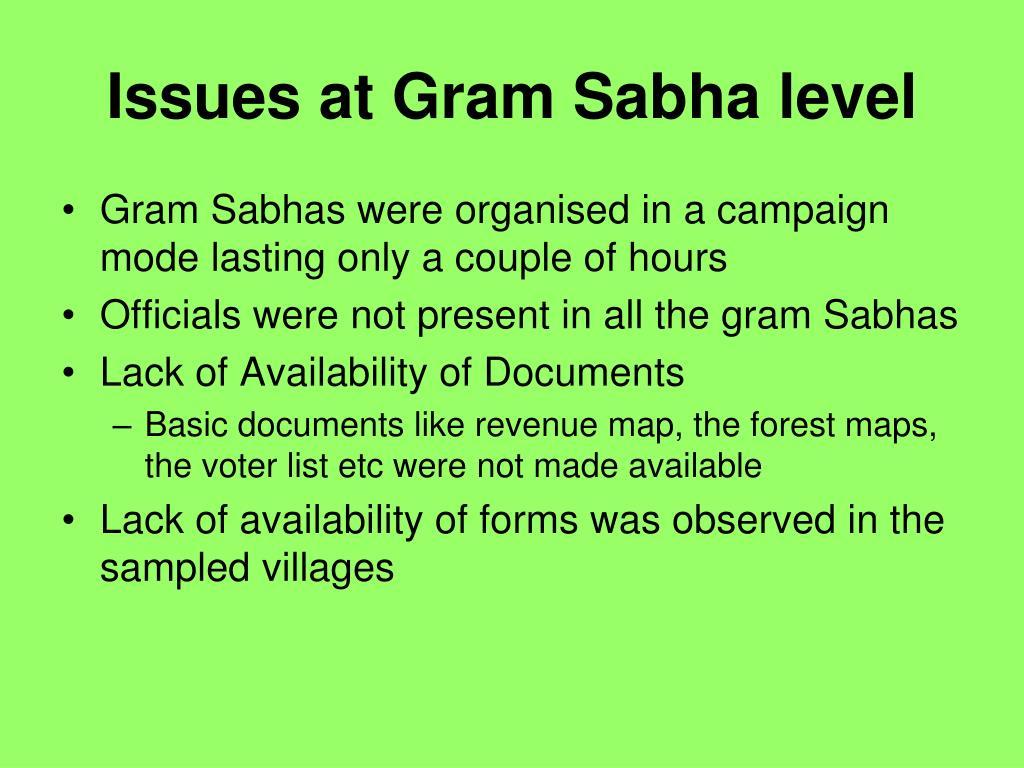 Issues at Gram Sabha level