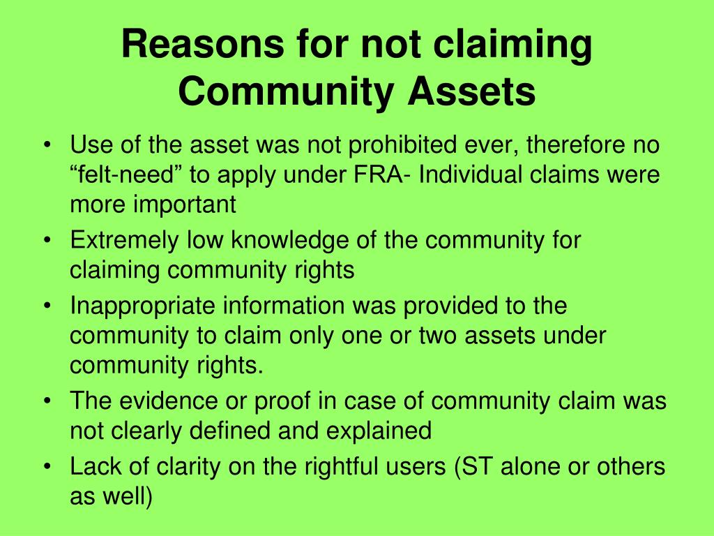 Reasons for not claiming Community Assets