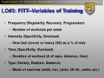 lo 3 fitt variables of training