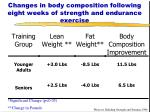 changes in body composition following eight weeks of strength and endurance exercise