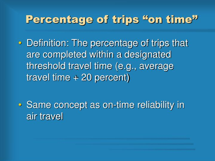 "Percentage of trips ""on time"""