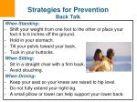 strategies for prevention back talk