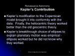 renaissance astronomy kepler s contribution
