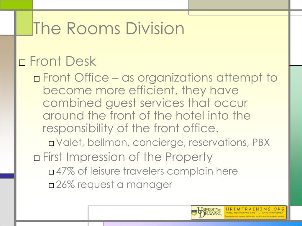 front office rooms division essay Rooms division operations the effective management and business performance of the front office area for a given essay, rooms division.