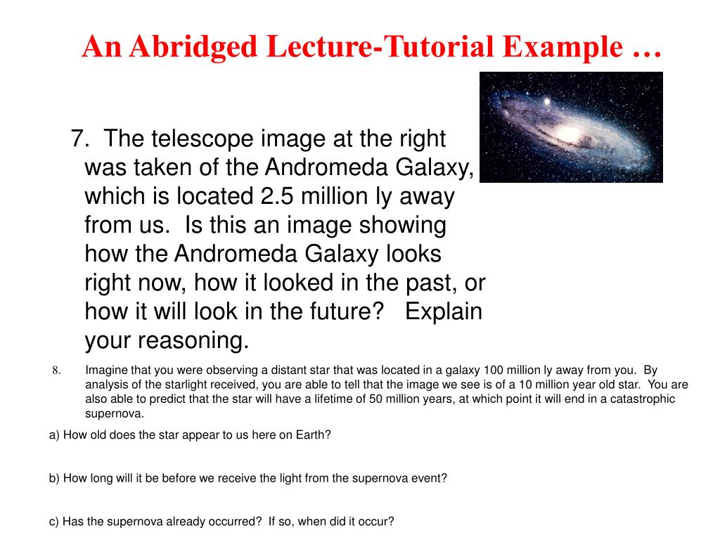 An Abridged Lecture-Tutorial Example …