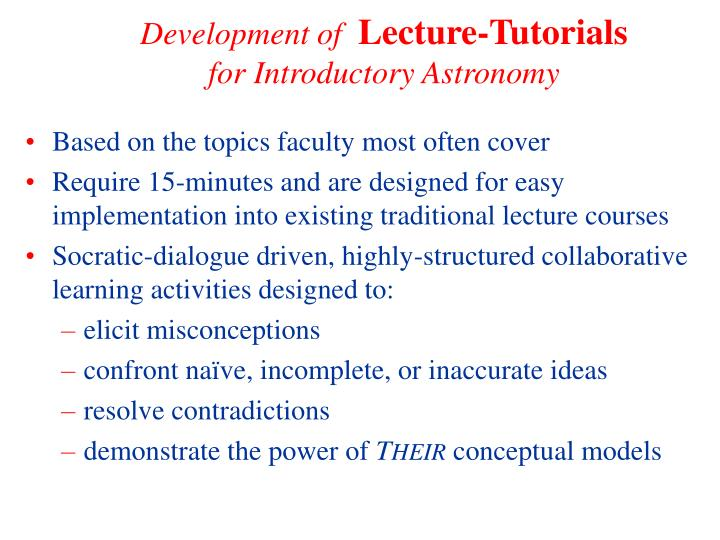 Development of lecture tutorials for introductory astronomy