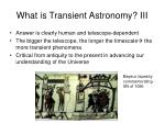 what is transient astronomy iii