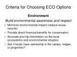 criteria for choosing eco options1