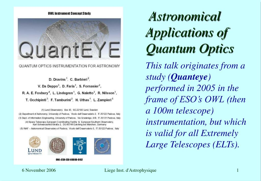 astronomical applications of quantum optics l.