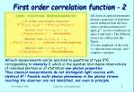 first order correlation function 2