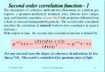 second order correlation function 1