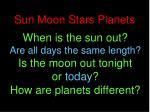 sun moon stars planets